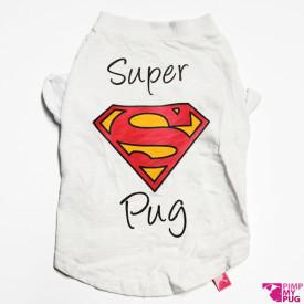 """Tshirt bianca """"Super Pug"""""""