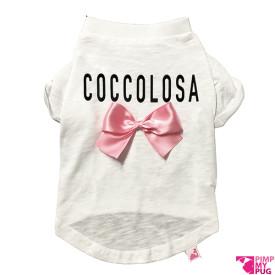 """Tshirt bianca """"Coccolosa"""" fiocco rosa"""