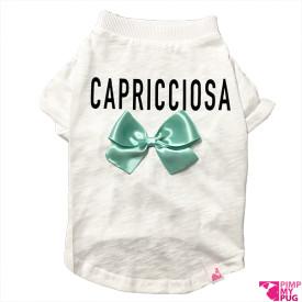 "Tshirt bianca ""Capricciosa"" fiocco tiffany"