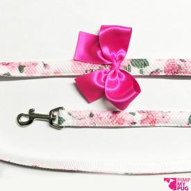Guinzaglio a fiori con fiocco color rosa fucsia