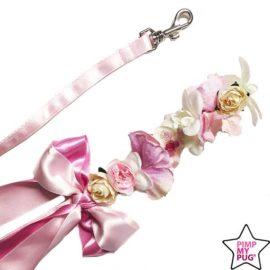 guinzaglio in raso con fiocco e fiori applicati