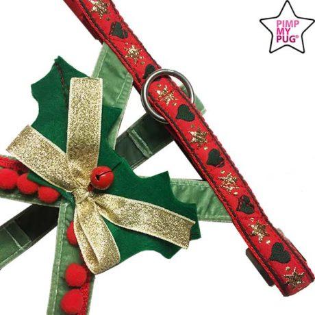Pettorina natalizia in velluto per carlini e bulldog francesi