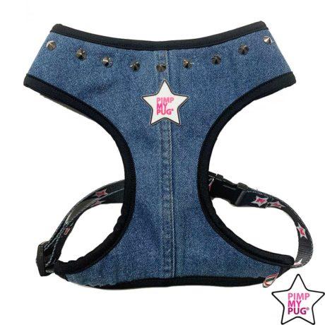 Pettorina in jeans riciclato con borchie
